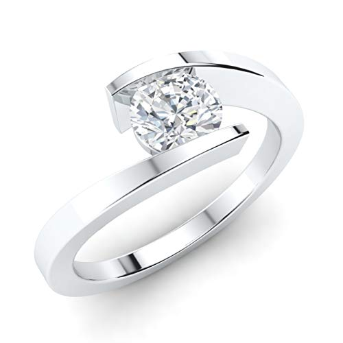 (Diamondere Natural and GIA Certified Diamond Solitaire Engagement Ring in 14k White Gold | 0.45 Carat Ring for Women, US Size 6)