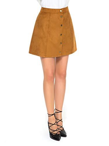 - Khaki Velvet Button Front High Waist A-line Mini Skirt L