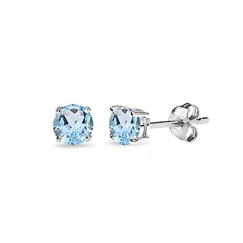 Blue Topaz Solitaire Pendant - Sterling Silver Blue Topaz 4mm Round-Cut Solitaire Stud Earrings