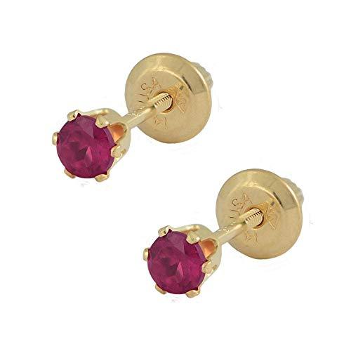 14K Yellow Gold Genuine Ruby Girls Stud Earrings - July Birthstone