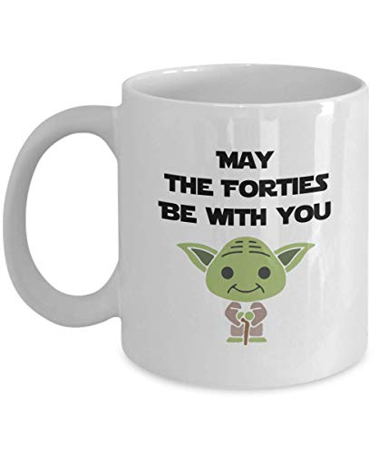 Fathers Day Gifts, May The Forties Be With You Gift For Dad, Fantastic 40th Birthday Mug For Husband, Forty, Dad Gifts From Daughter, Father's Day Gifts Yoda