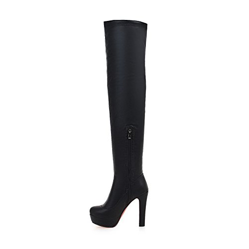 Heel The Boots BalaMasa Urethane High Above Knee Black Solid ABL09671 Womens Zipper EqfBWYq