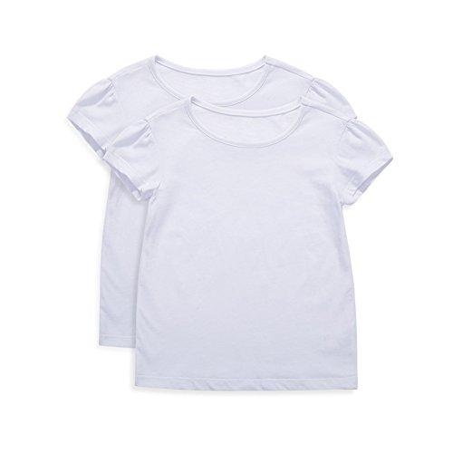 UNACOO Girls' Round Neck Basic T-Shirt Classic Short Sleeve Jersey Tee White (7-8T)