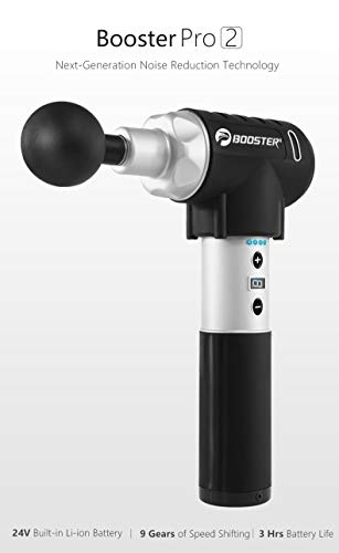 BOOSTER PRO 2 Percussion DEEP Tissue Massage Gun Latest Noise Reduction Technology, 9 SPEEDS, 5 Massage Heads Carrying CASE