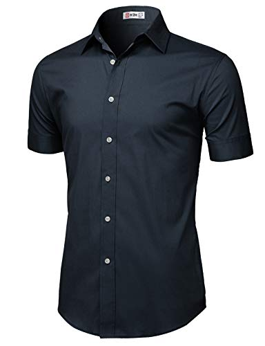(H2H Mens Casual Slim Fit Button-Down Dress Shirts Short Sleeves Solid Colors Navy US 2XL/Asia 3XL (KMTSTS0135))