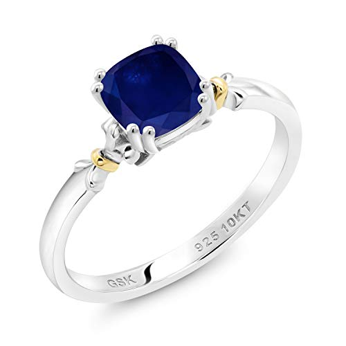 Gem Stone King 925 Silver and 10K Yellow Gold Blue Sapphire Women Engagement Ring (1.30 Ct Cushion, Available in size 5, 6, 7, 8, 9)
