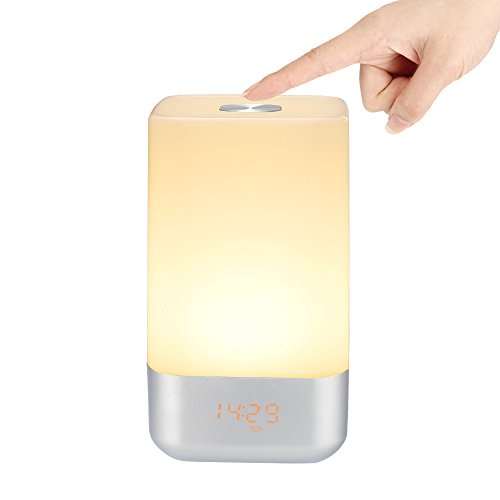 Wake Up Light Alarm Clock, Tsumbay Touch Sensor Bedside Lamp LED Night Light with 5 Nature Sounds, Sunrise Simulation, Color Changing, 3 Brightness, USB Rechargeable For Bedroom, Reading