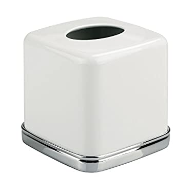InterDesign York Bath Collection, Facial Tissue Box Cover/Holder for Bathroom Vanity Countertops - White