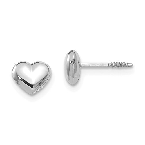 14k White Gold Puff Heart Post Stud Earrings Love Fine Jewelry Gifts For Women For Her