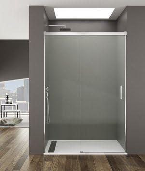 Mampara de ducha Basic acceso de Face con un Panel fijo y un panel deslizante. Vidrio transparente o en serigrafía de 6 mm: Amazon.es: Bricolaje y herramientas