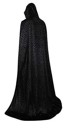 frawirshau Unisex Hooded Cloak Cape Full Length Halloween Cosplay Costumes Masquerade Cloak Black Dot Velvet ()