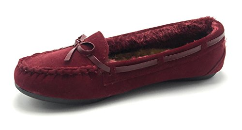 Women Warm Winter Comfortable Classic Fur Lining Moccasin Slip on Flat Shoes Wine/Wells9985 7TmKA