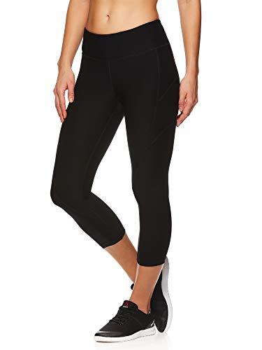 Reebok Women's Printed Capri Leggings With Mid-Rise Waist Performance Compression Tights, Black, X-Large (Reebok Women Compression Shirt)