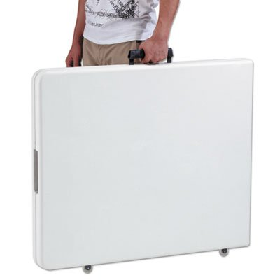 Fold-in-Half Resin Folding Table, 71w x 30d x 29h, White, Sold as 1 Each