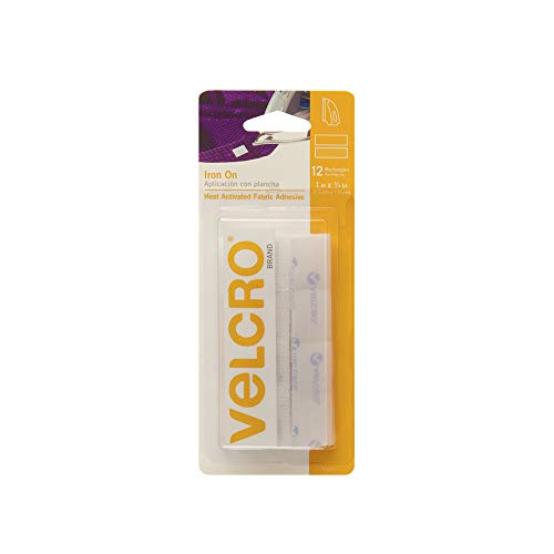 VELCRO Brand for Fabrics | Iron On Tape for Alterations and Hemming | No Sewing or Gluing | Heat Activated for Thicker Fabrics | Pre-Cut Strips, 1 x 3/4 inch, White