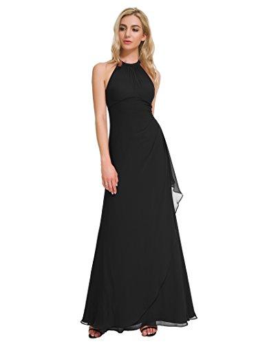 f210de5d786 Alicepub Long Bridesmaid Dresses Chiffon Halter Prom Dress Maxi Evening  Formal Gown