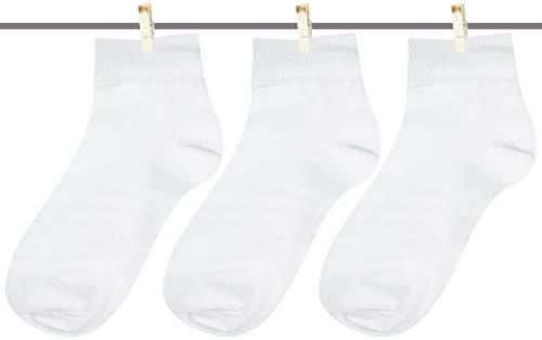 Neska Moda Men #39;s Cotton Black  amp; White 3 Pair Ankle Length Socks
