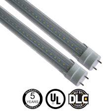T8 G13 4ft CLEAR Cover LED Light Tube 18W (40W equivalent), 5000K (Daylight), 4 PACK, Two-Sided Power, UL-Listed & DLC-Qualified