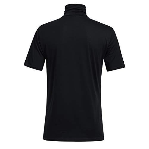 Sunhusing Men's Spring Summer Solid Color Turtleneck Short Sleeve T-Shirt Loose Cozy Blouse Tops Black