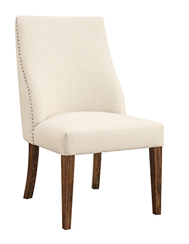 Emerald Home Furnishings Chambers Bay Side Chair Upholstered Seat, Standard, Pine-X2135/Handscraped Antique
