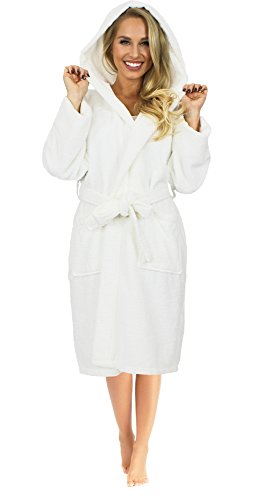 Hooded Terry Cloth Robe - Women's Terry Hooded Bathrobe 100% Turkish Cotton Made in Turkey (One Size, White)