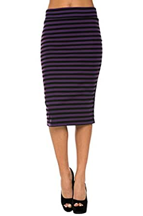 2LUV Women'sSolid & Multicolored High Waisted Pencil Skirt Black & Purple S (ASK-9014PT-A80)