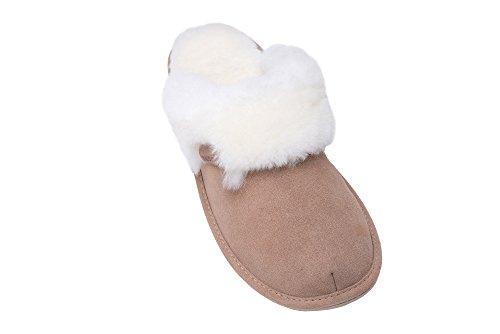 Rusnak Damen Lammfell Hausschuhe Echtleder Gefuttert Wolle Pantoffeln Schlappen Schuhe Beige/Weiß