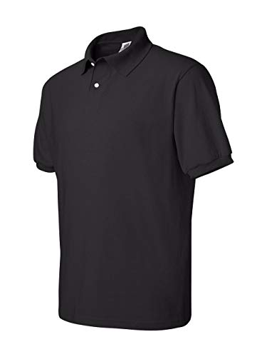 Hanes Stedman Jersey Knit Polo shirt - BLACK - XXXX-Large