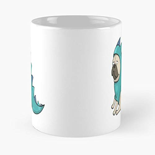 Dragon Pug Dog Wearing A Costume Coffee Mugs Unique Ceramic Novelty Cup ()