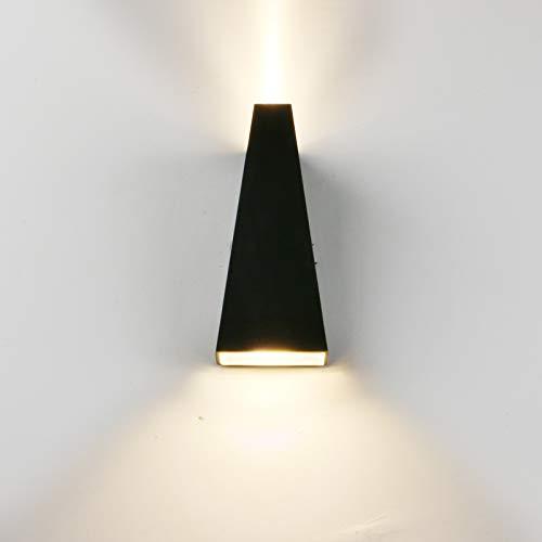 LED Waterproof Wall Lamp, Yosoan Matt Black Trapezoid 6W IP65 86V-265V Sconce Warm White 3000K Aluminum Indoor Outdoor…