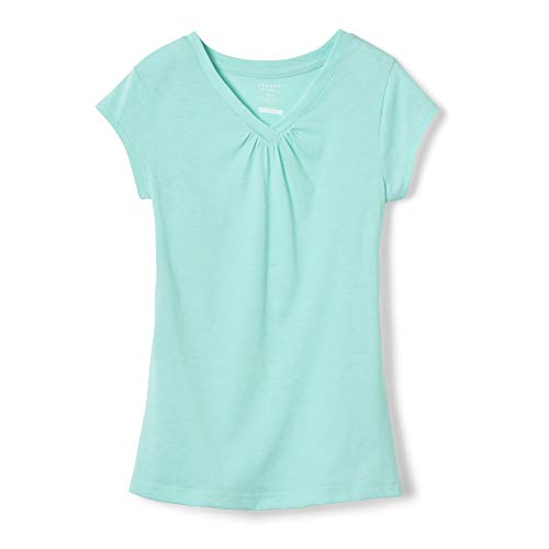 French Toast Girls' Big Short Sleeve V-Neck T-Shirt Tee, Trellis Aqua Heather, L ()