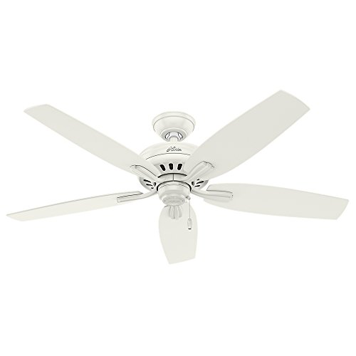 Hunter Indoor Outdoor Ceiling Fan, with pull chain control – Newsome 52 inch, White, 53322