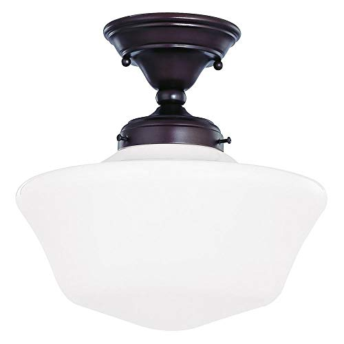 (12-Inch Schoolhouse Semi-Flush Ceiling Light with Opal White Glass and in Bronze Finish)
