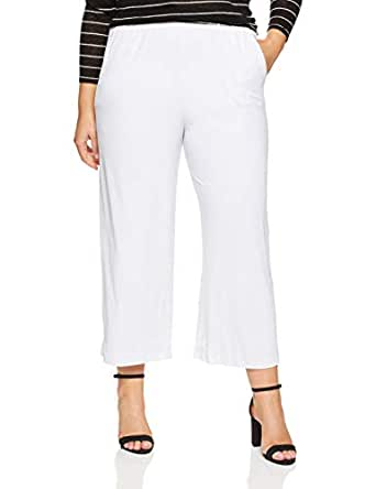 My Size Women's Plus Size The Palm Culotte, White, X-Small