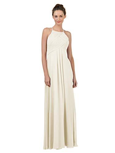 Alicepub Long Chiffon Bridesmaid Dress Maxi Evening Gown A Line Plus Party Dress, Ivory, US6 ()