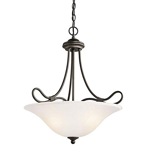 Kichler Lighting 3356OZ Stafford - Three Light Inverted Pendant, Olde Bronze Finish with White French Scavo Glass ()