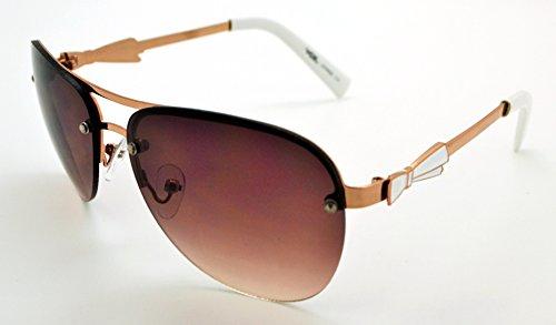 homme pour haute microfibre Lens W pour Aviator gratuit léger et Frame de qualité White étui Vox Brown soleil classique Lunettes femme Gold tendance n4qEIwX