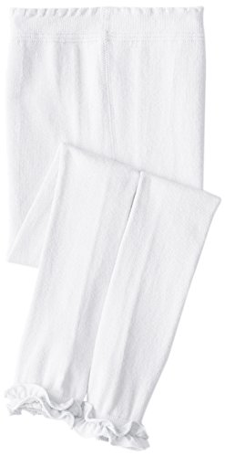 Jefferies Socks Little Girls'  Pima Cotton Ruffle Footless Tights, White, 6-8 Years