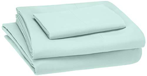 - AmazonBasics Kid's Sheet Set - Soft, Easy-Wash Microfiber - Twin, Light Jade Green