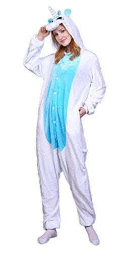 Dingwangyang Adult Unicorn Pajamas Animal Costume Cosplay Onesie Kigurumi Halloween Gift Blue Unicorn M ()