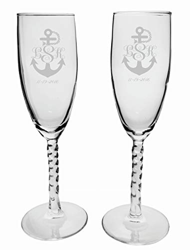 2 Personalized Etched Monogram Anchor Toasting Champagne Wedding Flutes Glasses ()