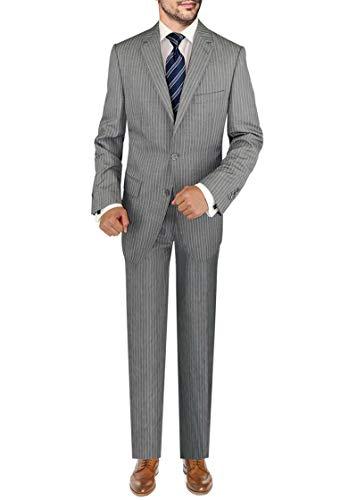 DTI BB Signature Italian Men's Wool Suit Set 3 Piece Jacket Pant Extra Trousers (40 Short US / 50S EU/W 34
