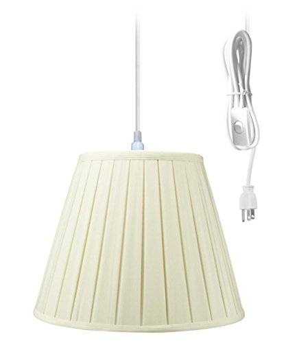 Plug-In Pendant Light By Home Concept - Hanging Swag Lamp Eggshell Shade - Perfect for apartments, dorms, no wiring needed (Eggshell, White One-light) Brass Pleat Shade Plug