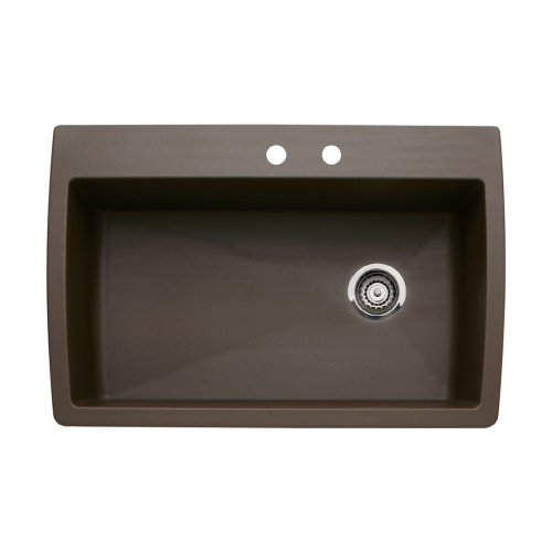 Blanco 440192-2 Diamond 2-Hole Single-Basin Drop-In or Undermount Granite Kitchen Sink, Cafe Brown