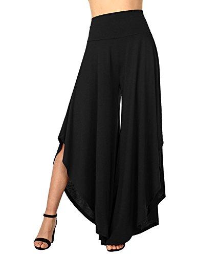SEASUM Women's Layered Wide Leg Flowy Palazzo Lounge Pants,High Waist Palazzo Wide Legs Capri Pants XL -