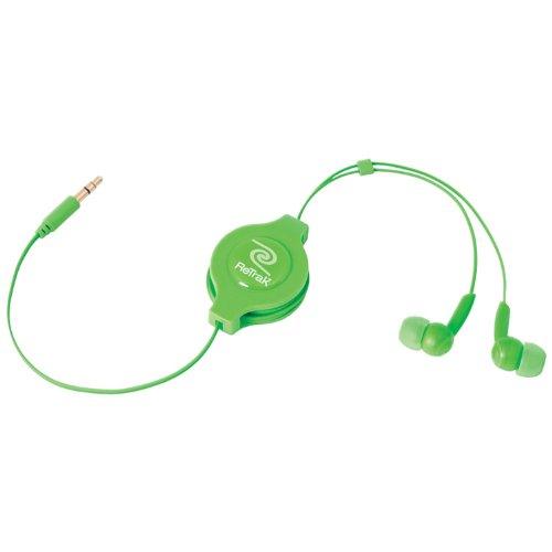 ReTrak Retractable Stereo Earbuds, Green (ETAUDIOGRN)