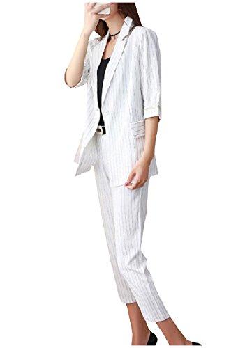 王朝いっぱいクライストチャーチNicellyer 女性のノッチラペルジャケット工事事務所のストリップ2部分スーツ一式