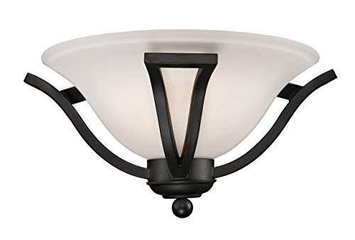 (Z-Lite 703-1S-MB Lagoon One Light Wall Sconce, Steel Frame, Matte Black Finish and Matte Opal Shade of Glass Material)