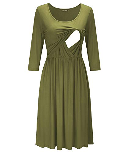 20f4797a507 OUGES Womens 3 4 Sleeve Maternity Nursing Breastfeeding Dresses with Pocket