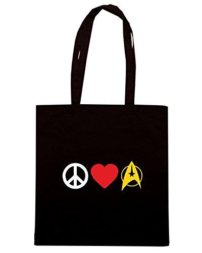 T-Shirtshock - Bolsa para la compra TLOVE0124 peace love trek Negro